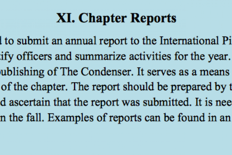 Chapter Reports
