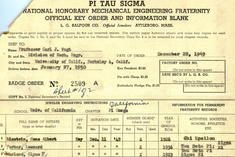 Hans Albert Einstein's registration at University of California Berkeley
